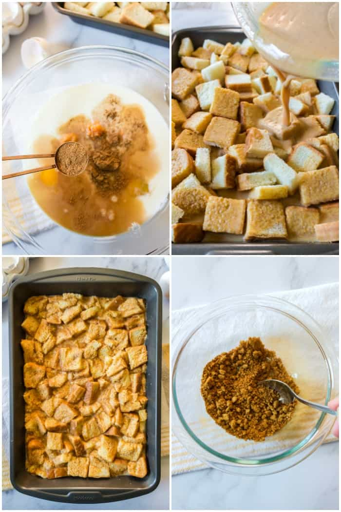 steps to make a pumpkin french toast bake