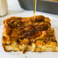 Pumpkin and french toast have joined together in a fall lover's DREAM COME TRUE! Make this french toast bake the night before & enjoy the next morning!