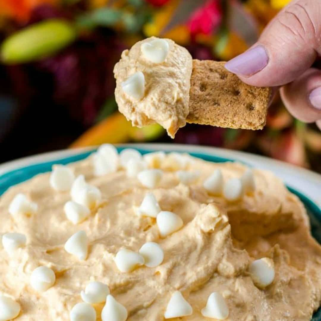 Pumpkin Pie Cheesecake Dip with white chocolate chips is an easy, creamy no-bake dessert that your family and holiday guests will love!