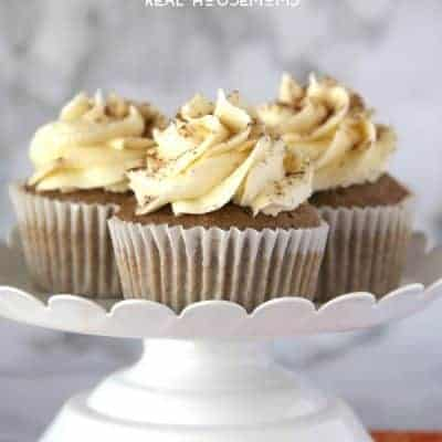 Pumpkin Spiced Cupcakes with Vanilla Frosting
