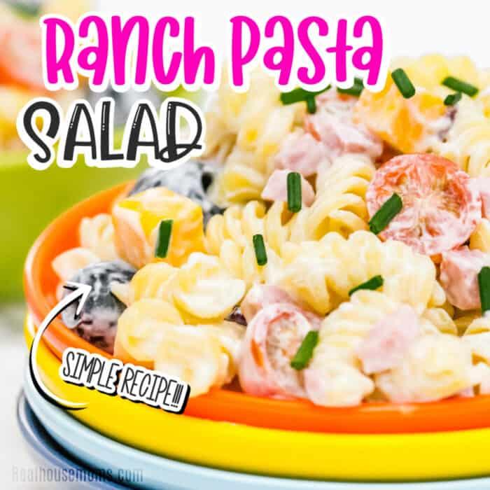 square photo of Ranch Pasta Salad of colorful plates