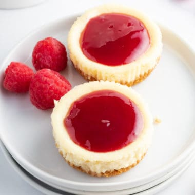 Raspberry Cheesecake Bites are the perfect bite-sized treat for Valentine's day or any occasion! These little desserts are super simple and oh-so-scrumptious!