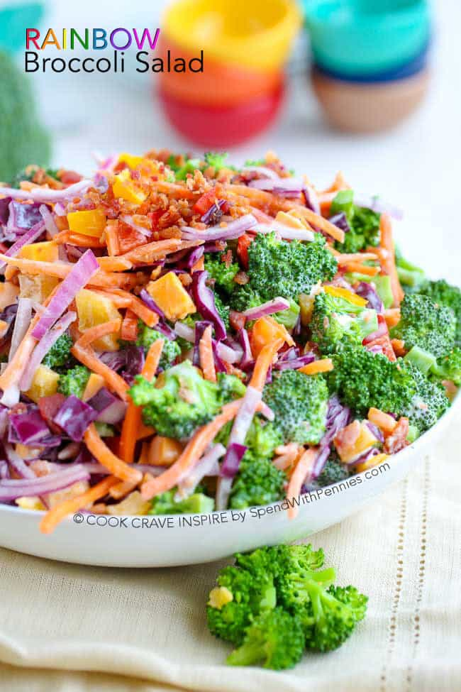 Rainbow Broccoli Salad - Spend with Pennies