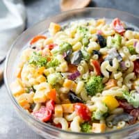 Easy Rainbow Macaroni Salad is a delicious pasta salad studded with rainbow-colored veggies to make a fun, delicious summer side. We eat this macaroni salad all year long!