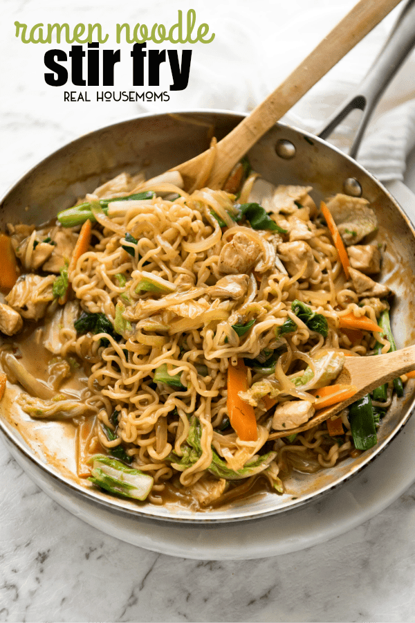 Keep this Ramen Noodle Stir Fry in your back pocket for busy nights when you need a quick meal! Completely customizable, the beauty of this recipe is that you use the ramen soup packets from instant ramen packets to make the stir-fry sauce.