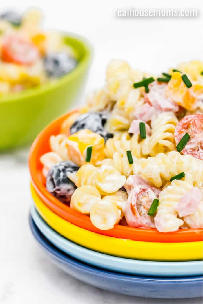ranch pasta salad on a small plate