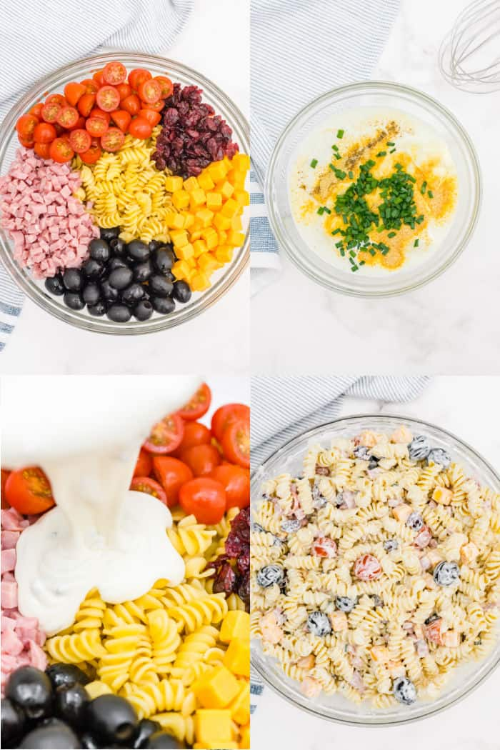 pasta, olives, raisins, tomatoes, ham, and cheese in a large bowl, homemade ranch dressing ingredients in a medium bowl, ranch dressing being poured over pasta salad ingredients, pastas salad with dressing mixed in a in a large bowl