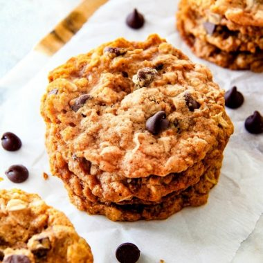 Rangers Cookies loaded with rolled oats, coconut, and cornflakes stacked up