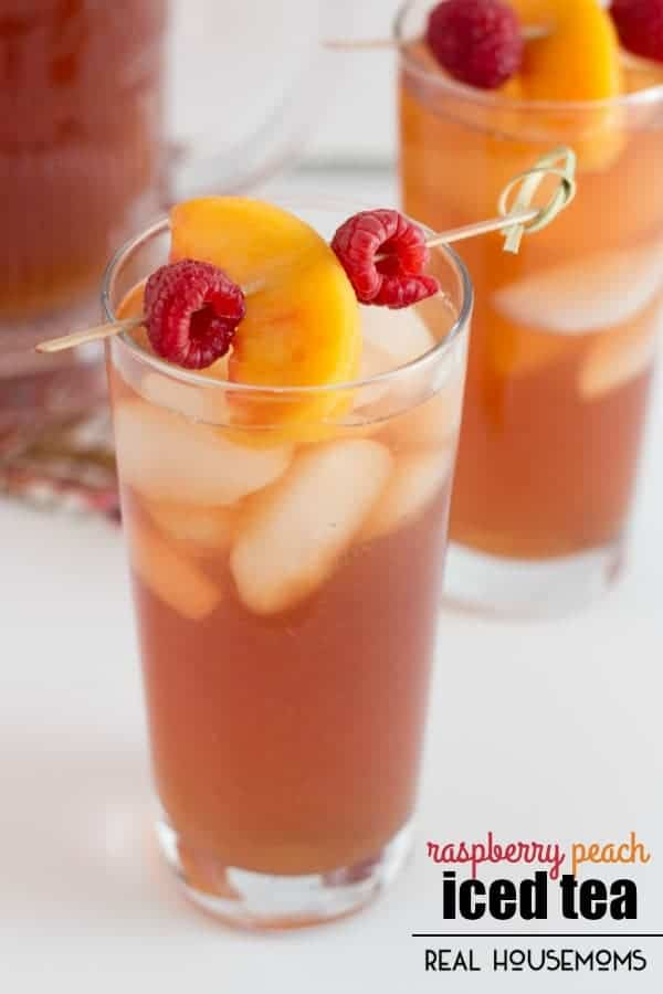 This sweet and fruity RASPBERRY PEACH ICED TEA is sure to be a summer staple! Simple black tea gets spruced up with an infused syrup using fresh peaches and raspberries!