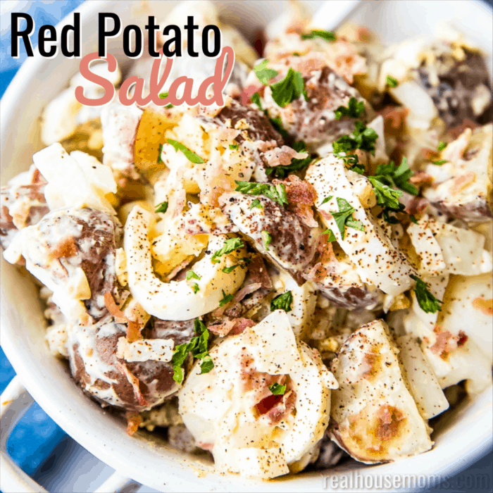 square image of red potato salad with text