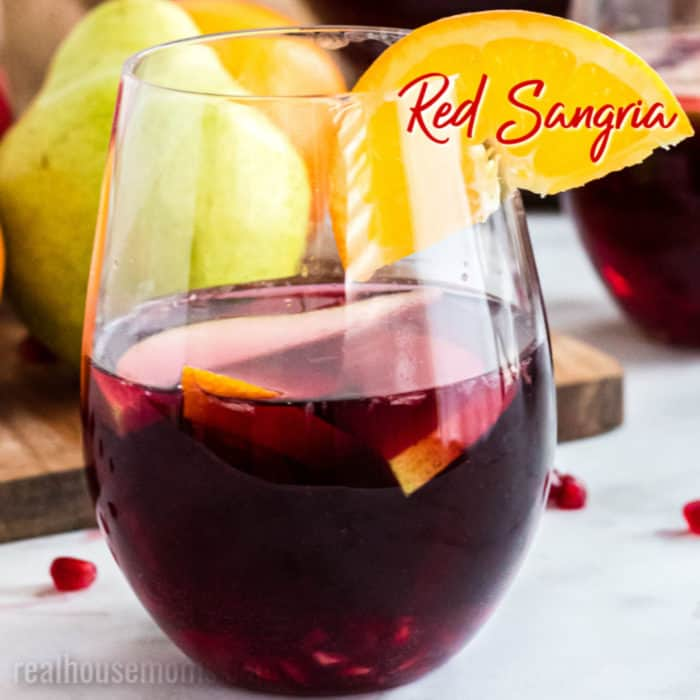 square image of a glass of red sangria with text