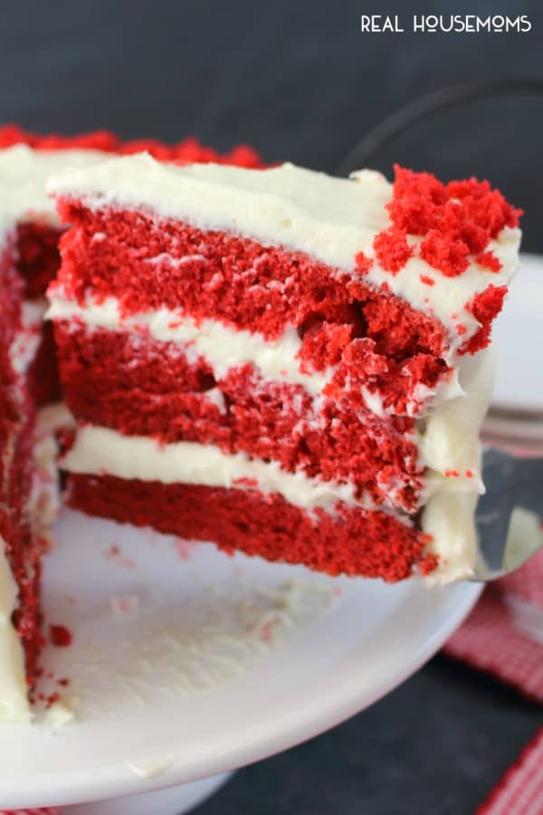 Cross section view of red velvet cake recipe showing all the cake layers