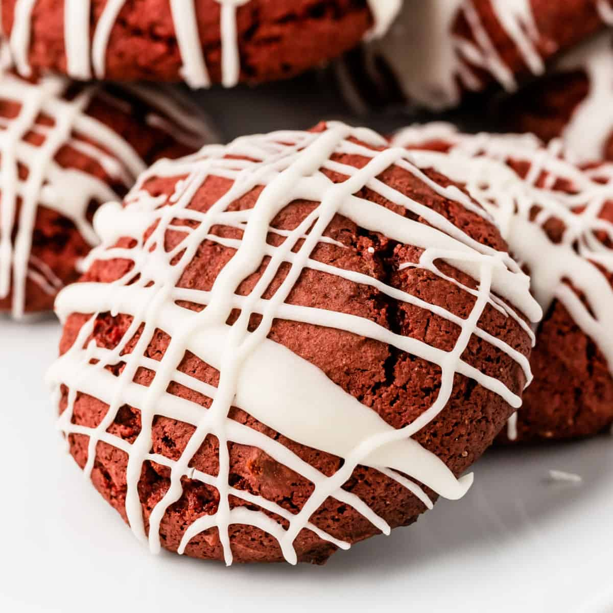 square close up image of a cake mix red velvet cookie