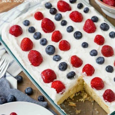 Red White and Blue Cheesecake Poke Cake