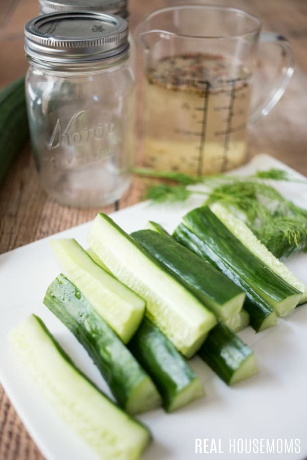 cucumbers cut into spears for refrigerator pickles