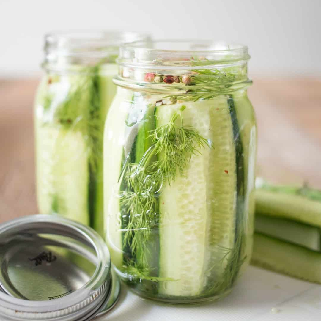 Refrigerator Pickles are an easy to make snack or appetizer that uses a few simple ingredients and are the perfect addition to your summer BBQ!
