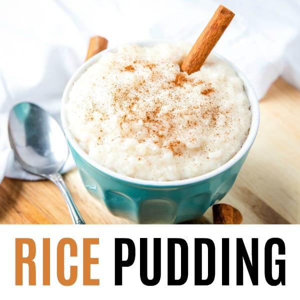square image of rice pudding with text