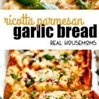 Whether you are hoping to impress company or simply need a way to use up extra ricotta, this easy Ricotta Parmesan Garlic Bread will become a new favorite of everyone and for all occasions!