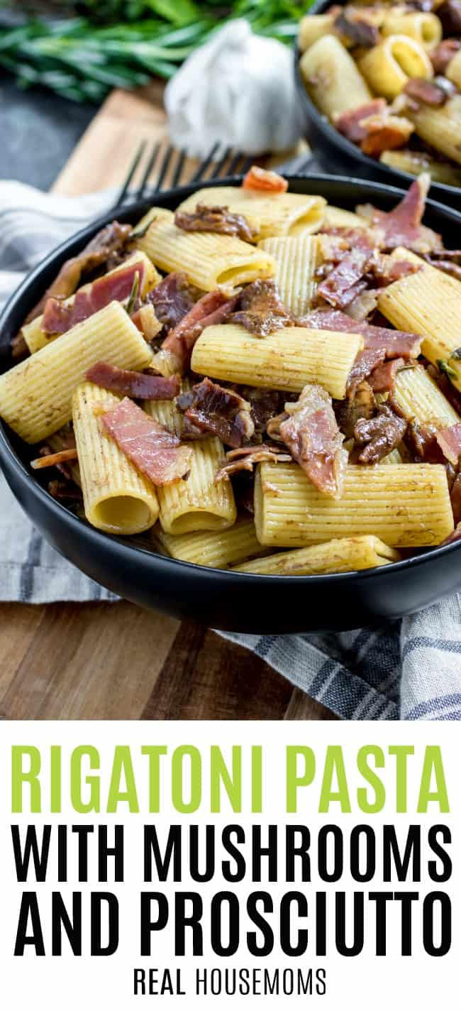 Rigatoni Pasta with Mushrooms and Prosciutto in a dinner bowl ready to eat