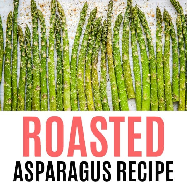 square image of roast asparagus with text