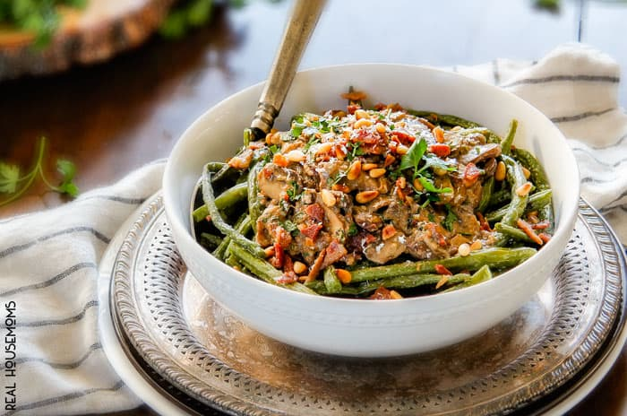Ridiculously flavorful, creamy ROASTED GREEN BEANS WITH CREMINI MUSHROOM SAUCE easy enough for every day but delicious enough for special occasions!