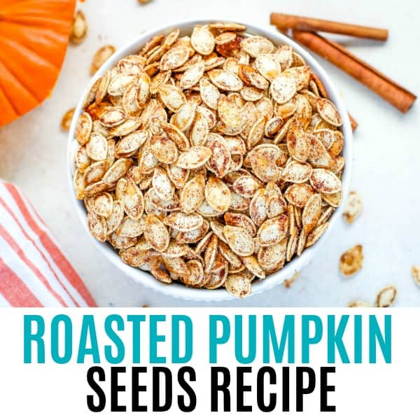 square image or roasted pumpkin seeds with text