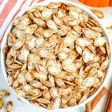 An easy recipe for crunchy and flavorful Roasted Pumpkin Seeds. Use your favorite sweet or savory spices to make these just the way you want them!