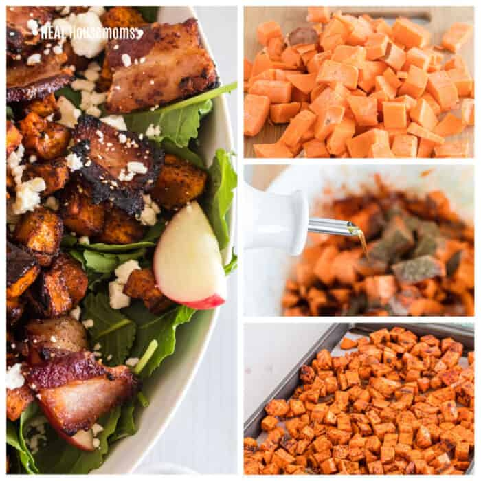 square image collage of salad. left side big pic, close up of bowl of salad, top right pic of raw sweet potato, middle right pic, dressing being poured on sweet potatoes, bottom right, sweet potato on a baking sheet