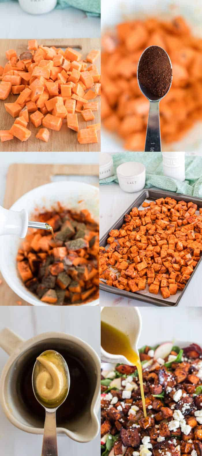 step by step of how to Make the salad. top left pic of sweet potato pre cooked, top right adding spices, middle left photo, adding olive oil to sweet potato, middle right sheet pan of sweet potato, bottom left adding more spices for salad dressing, bottom right pic of dressing being poured on the salad