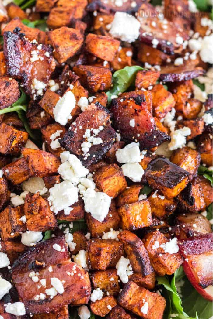 real close up of Roasted sweet potato salad
