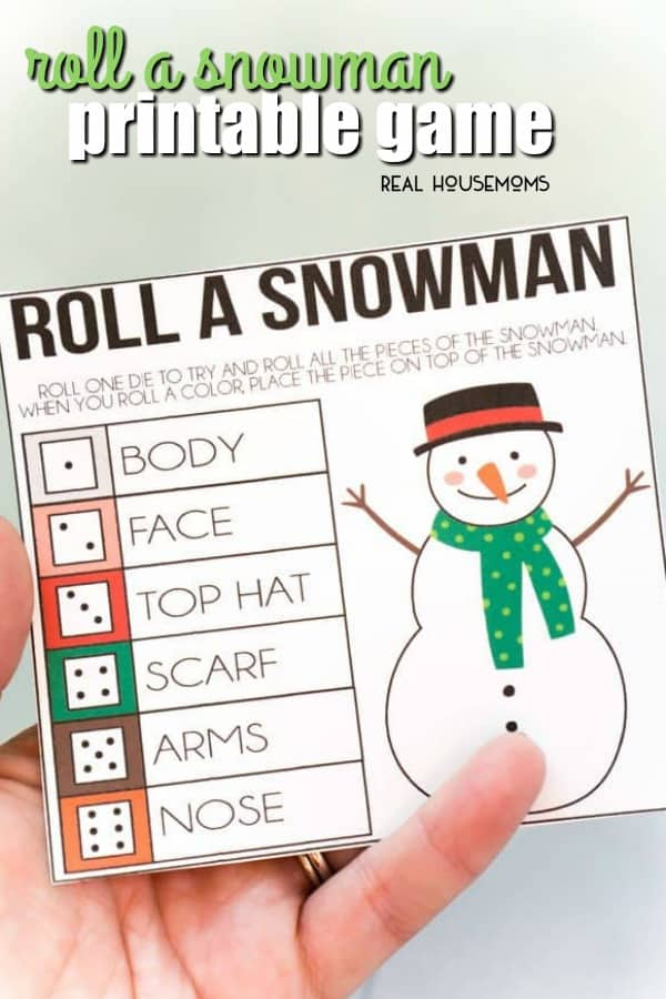 Christmas Gift Exchange Dice Game Printable.Roll A Snowman Printable Game Real Housemoms