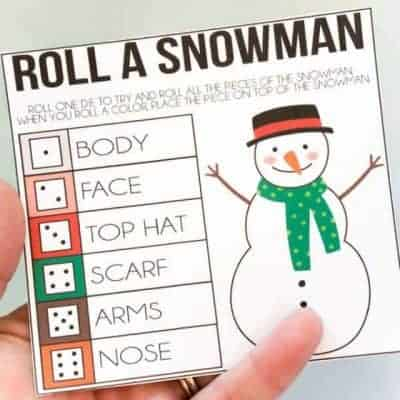 Roll A Snowman Printable Game