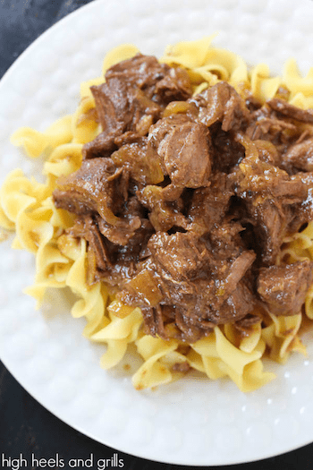 Slow Cooker Root Beer Stewed Beef - High Heels and Grills