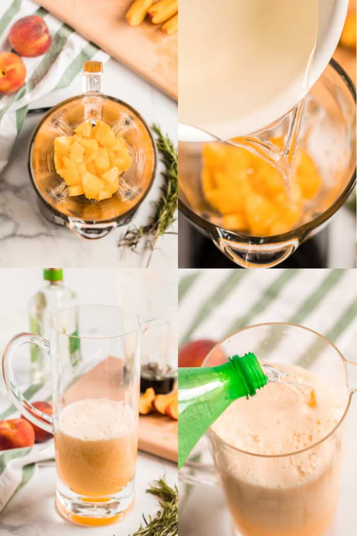 chopped peaches in a blender, rosemary simple syrup being poured into blender, blended peaches in a pitcher, lemon-lime soda being poured into pitcher