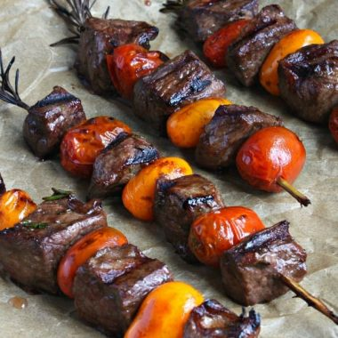 This ROSEMARY STEAK SKEWERS WITH BALSAMIC GLAZE is a simple grill recipe that tastes as good as it looks!