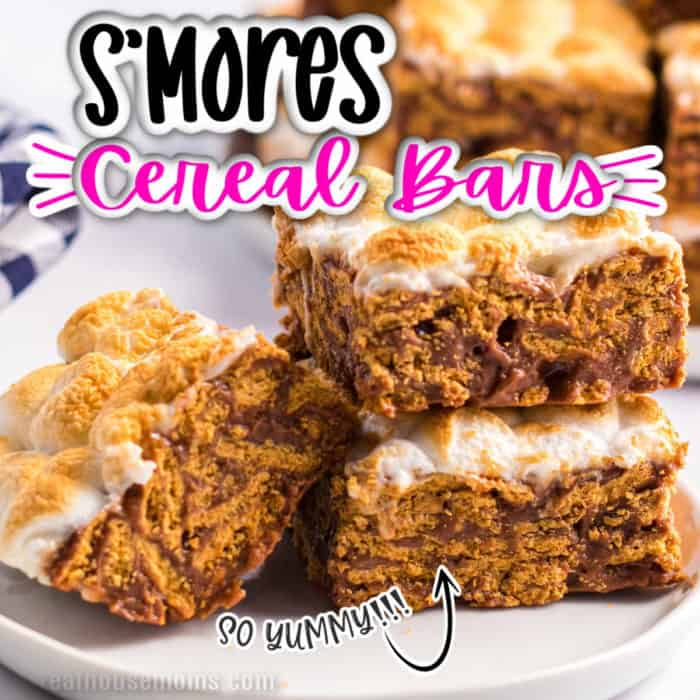 square image of smores cereal bars, stack go bars on a plate