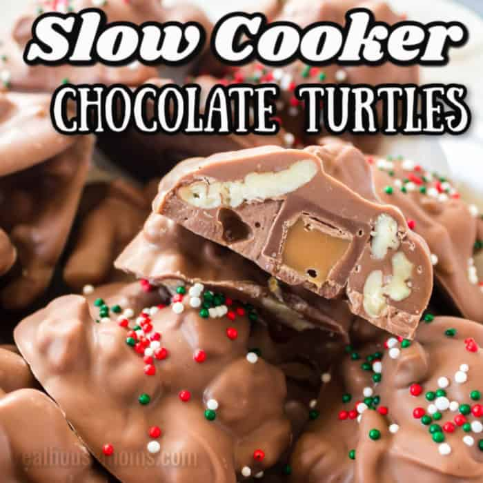 square image of Slow Cooker Chocolate Turtles with writing