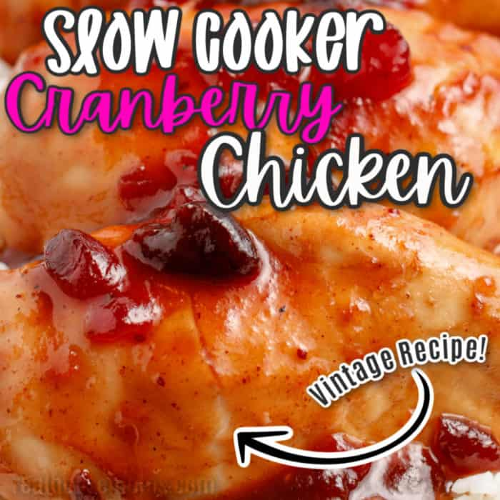 square image of slow cooker cranberry chicken