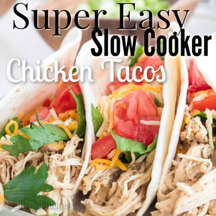 square image of slow cooker chicken tacos with text