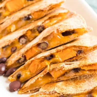 Sweet Potato & Black Bean Quesadillas are a nutritious meal idea. Packed with protein and fiber, it's a great choice for your Meatless Monday menu!