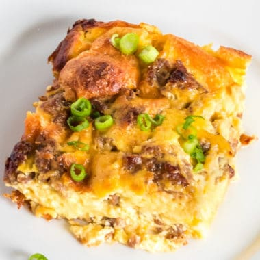 Sausage Egg Casserole is an easy breakfast casserole perfect for any day of the week. Ready in under an hour, every member of your family will want a bite!