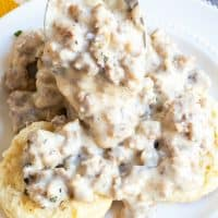 Sausage Gravy is a simple and tasty recipe made from pork sausage and cream and a few other simple ingredients. Serve over warm biscuits or fried chicken!