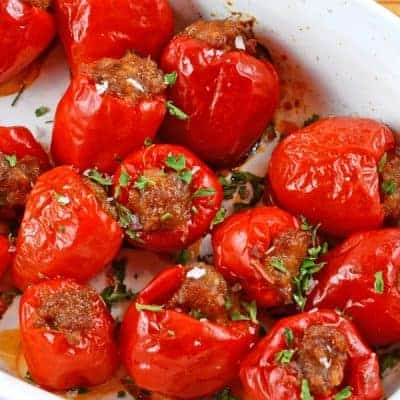 Sausage Stuffed Cherry Peppers