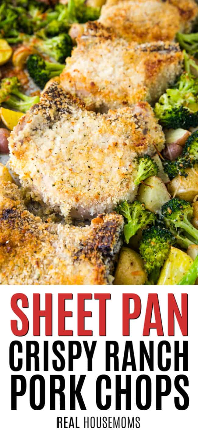 sheet pan ranch pork chops after cooking