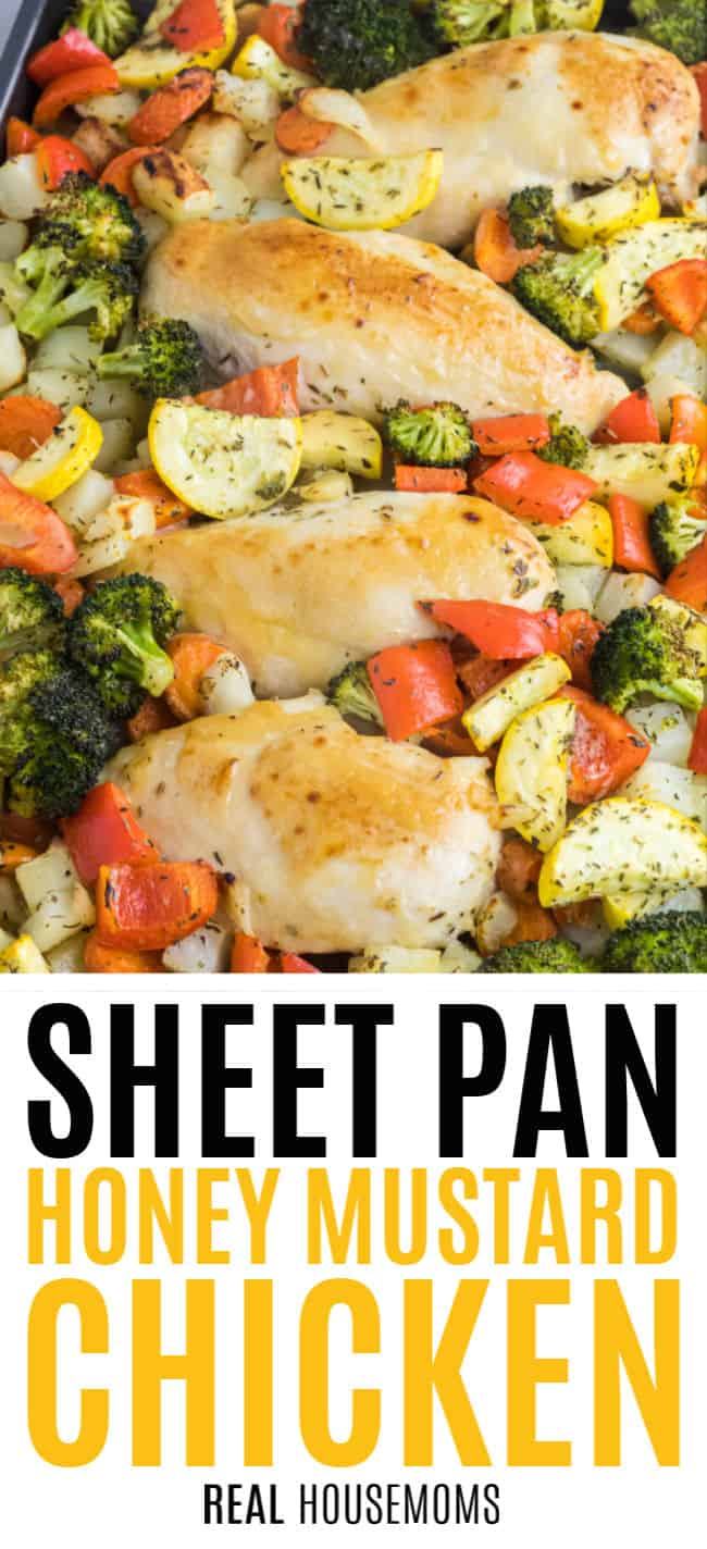 honey mustard chicken breasts with vegetables and potatoes