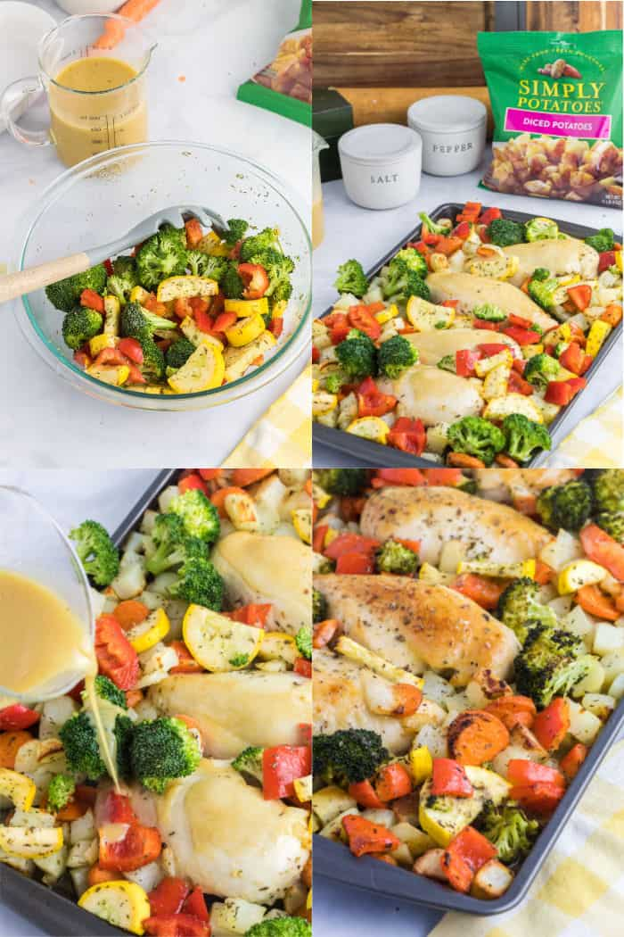 steps to add vegetables and honey mustard to sheet pan chicken