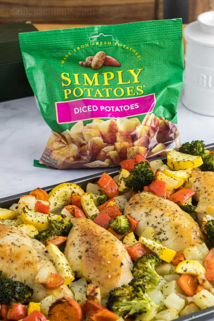 sheet pan dinner with simply potatoes diced potatoes