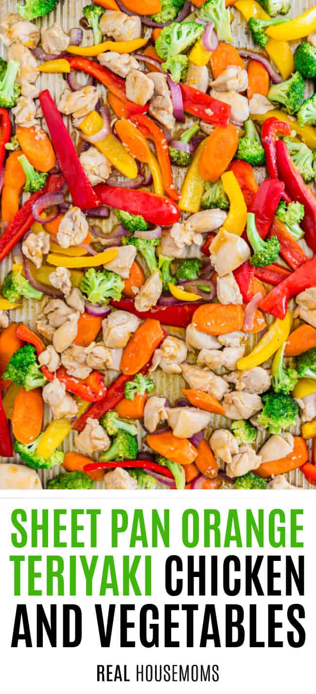 close up of chopped chicken and vegetables on a sheet pan after cooking