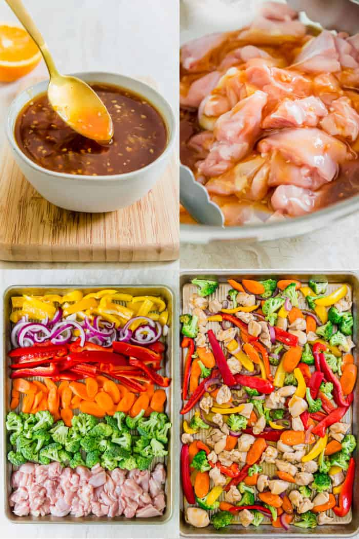 orange teriyaki sauce in a mixing bowl with a spoon, orange teriyaki sauce and chopped chicken in a mixing bowl for marinating, vegetables and chicken on a baking sheet in rows of color, chicken and vegetables all mixed up on a sheet pan after baking