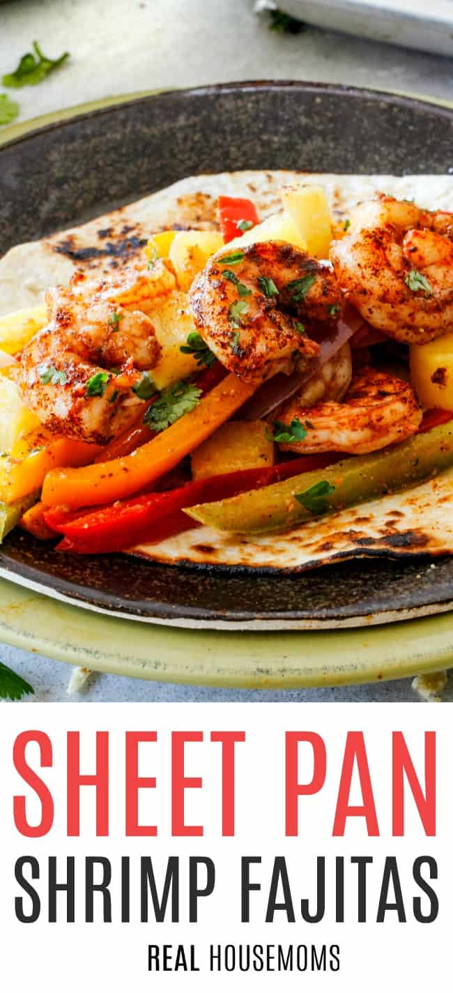 shrimp fajitas served on a tortilla